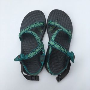 Size 10 WIDE Chacos with Blue Green Tribal Pattern